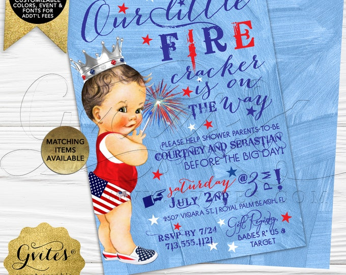 "Patriotic Baby Shower Invites, Our little fire cracker is on the way, Vintage silver crown, Digital, 5x7"" Double Sided, Gvites."