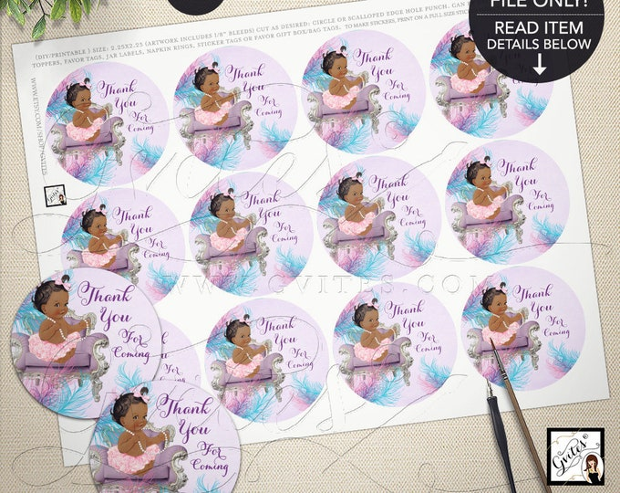 Baby Shower Toppers, Labels, Circles, Popcorn Stickers, African American Vintage Baby Girl, Purple Pink. PRINTABLE 2.25x2.25/12 per sheet.