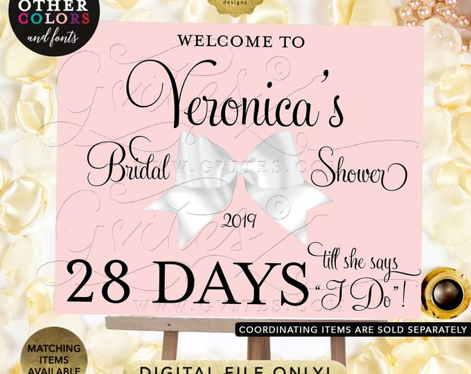 Days Till She Says I do,  Countdown Bridal Shower Custom Signs | Pink and White Bow | Printable Digital File Only! | PDF + JPG | By Gvites.