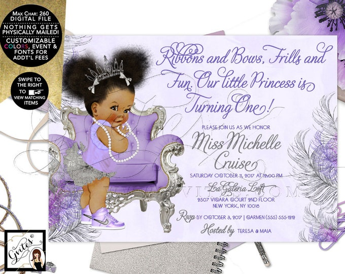 Purple Lavender and Silver First Birthday Invitation, Princess African American Girl, Afro Puffs, Tutus Tiaras Pearls, DIY, Digital, Gvites.