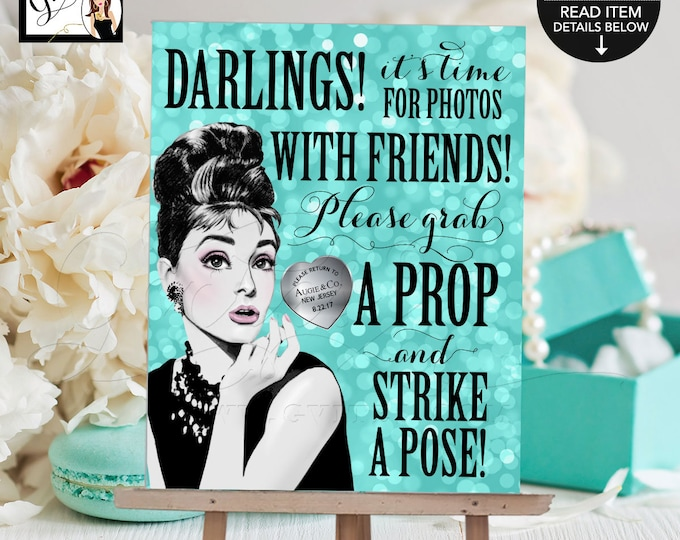 """Sweet 16 Photo Booth Sign Breakfast at Audrey's Printable File. Birthday grab a prop and strike a pose, 8x10"""" Gvites."""
