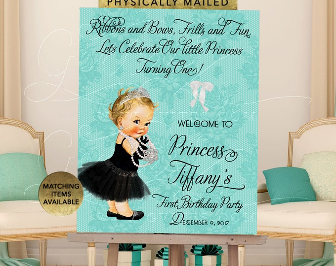 Welcome First Birthday Party Breakfast at Decorations Signs Vintage Baby Girl, Digital File Only!