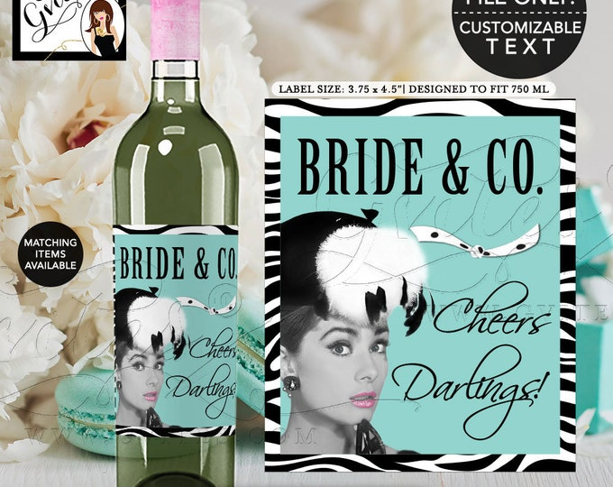 "Audrey Bride and Co Wine Labels, Audrey Hepburn Printable Party Decor, Breakfast at wine bottle labels  {3.75x4.5""/4 Per Sheet} Gvites"