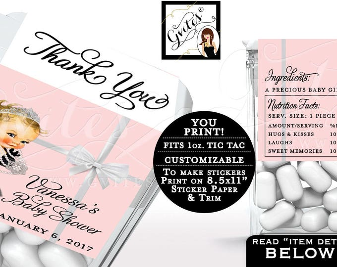 Tic Tac Label Baby Shower, Pink Candy Wrapper, Labels, Party Favors, Gifts, Thank you Princess Vintage, Digital 8/Per Sheet. {Blush Pink}