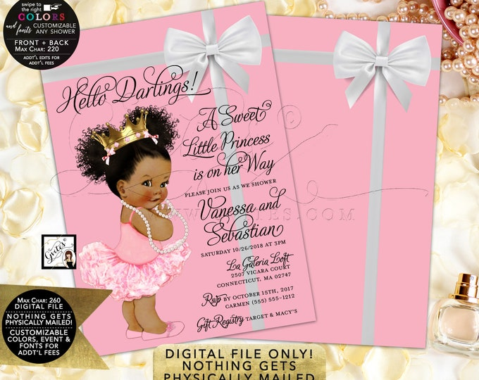 "Ballerina Princess Invitations Pink and Gold White Bow Baby Shower Diamonds Pearls, DIY, Digital File Only! 5x7"" Double Sided."