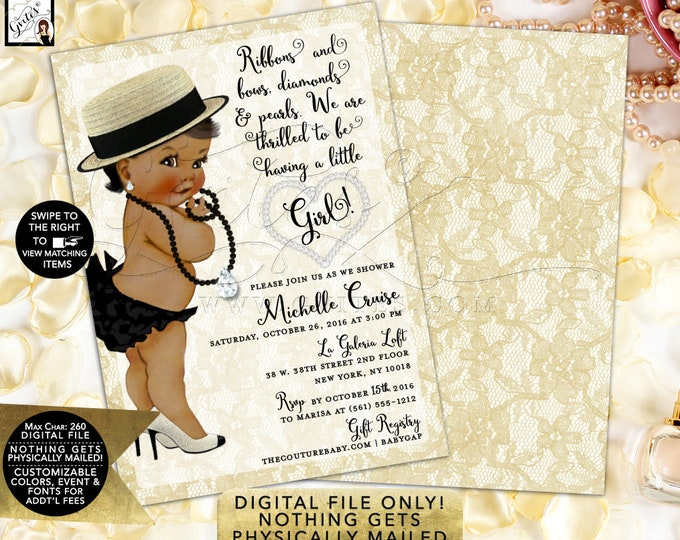 Diamond and Pearls Baby Shower, African American Baby Shower, Ivory Lace Invites elegant sophisticated, sassy glitz double sided, 5x7 Gvites