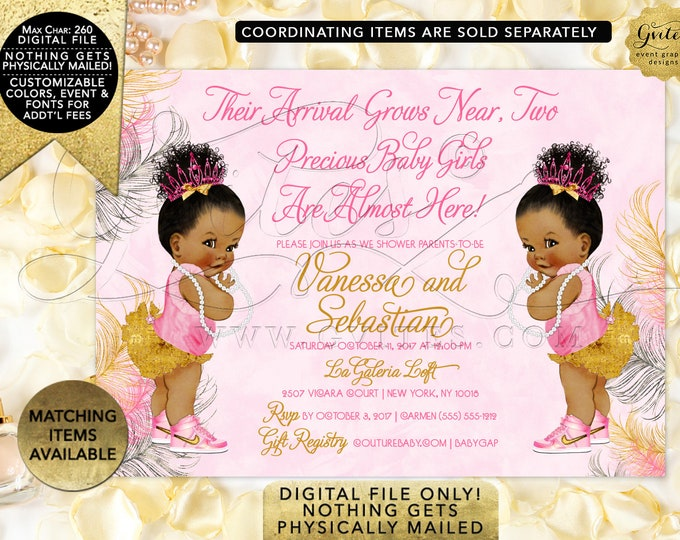 """Pink and Gold Twins Baby Shower Printable Invitation, Personalized Invites. Digital File Only! 7x5"""" JPG + PDF {Pink/Silver/Gold Feathers}"""