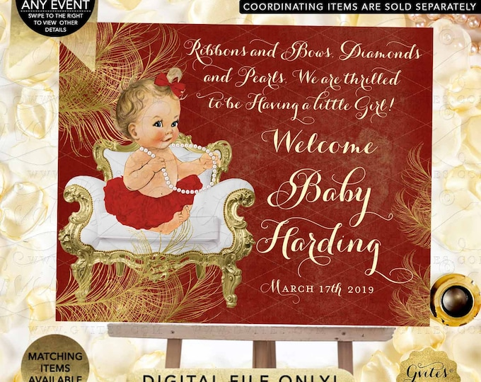 Welcome Baby Shower Sign Red & Gold Decorations | Diamonds Pearls Themed | African American Princess | Digital Printable PDF + JPG