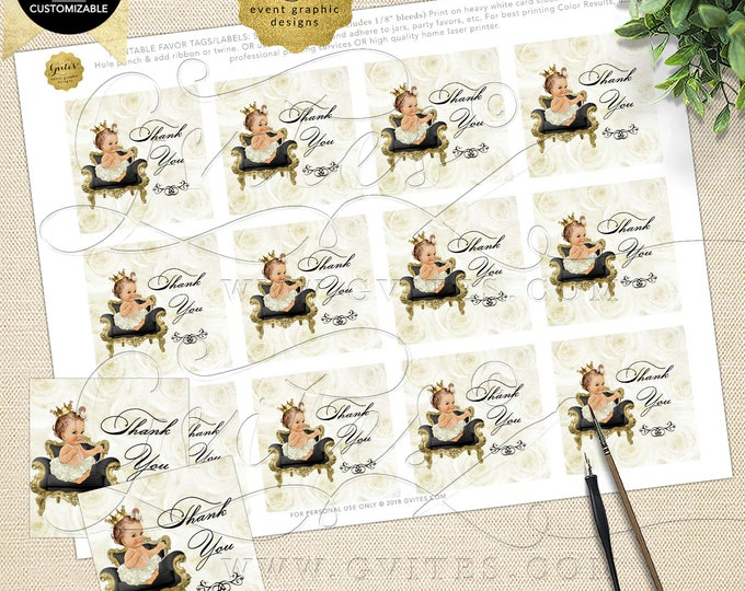 Thank You Tags Baby Shower Ivory Gold INSTANT Download Princess | Caucasian Light/Brunette 2x2 Tags/12 Per Sheet Design: WHRST-102 By Gvites
