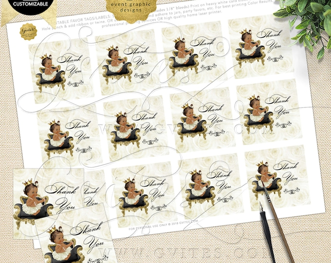 Thank You Tags Baby Shower Ivory Gold INSTANT Download Princess 2x2 Tags/12 Per Sheet | Dark/Jet Design: WHRST-102 By Gvites