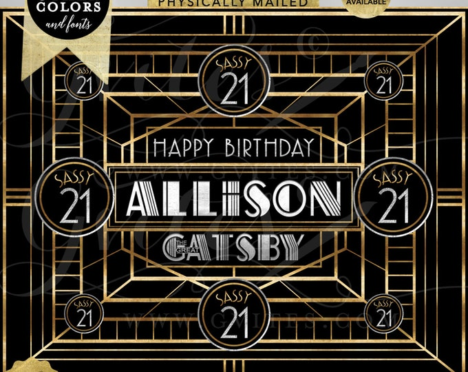 Happy Birthday Great Gatsby Banner Sign For Photos | Digital Printable File Only! | JPG + PDF | By Gvites