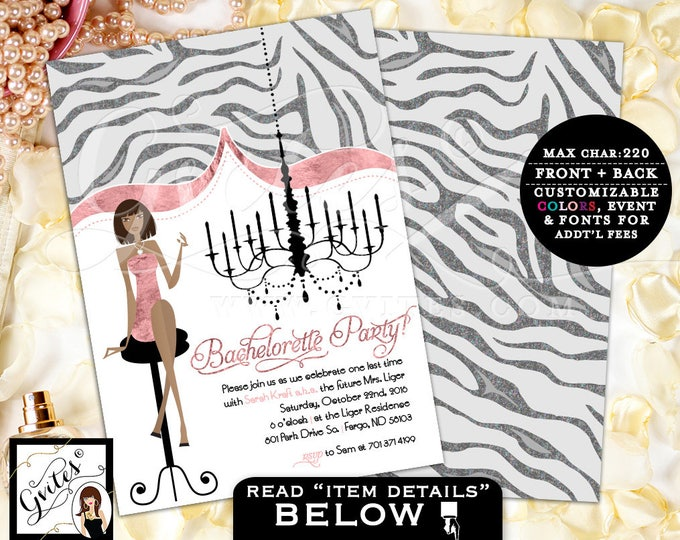 fashion designer, Glitz and Glam Invitations, Bachelorette, African American classy invitations,  pink and silver, glitter, modern, classy.
