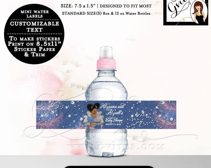 """MINI Water Bottle Labels Denim and Diamonds Afro Puffs African American labels Stickers, Favors Fits 8oz-12oz. Size: 7.5 x 1.5""""/7 Per Sheet."""