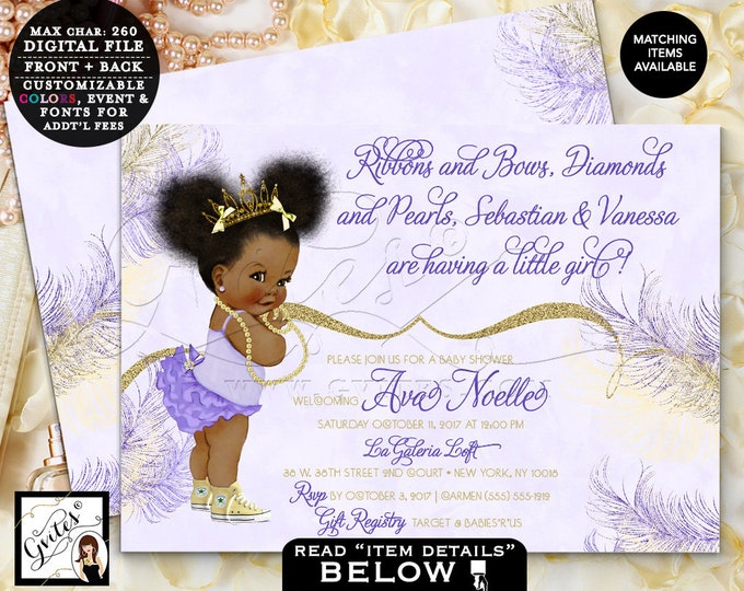 Gold and Lavender Baby Shower African American princess yellow tiaras diamonds pearls, digital file, 7x5 double sided. Afro Puffs. Gvites
