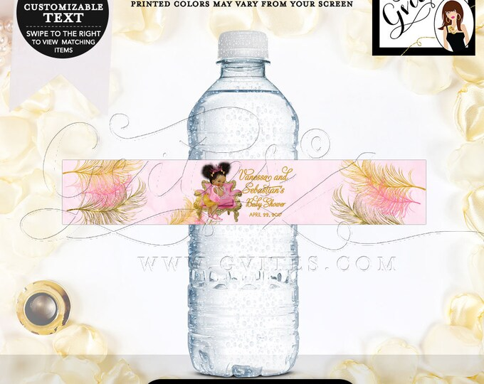 """Water Bottle Labels Pink and Gold Baby Shower African American 8.5 x 1.5""""/6 Per Sheet. MINI & Standard Size Bottles {Pink/Gold Feathers}"""