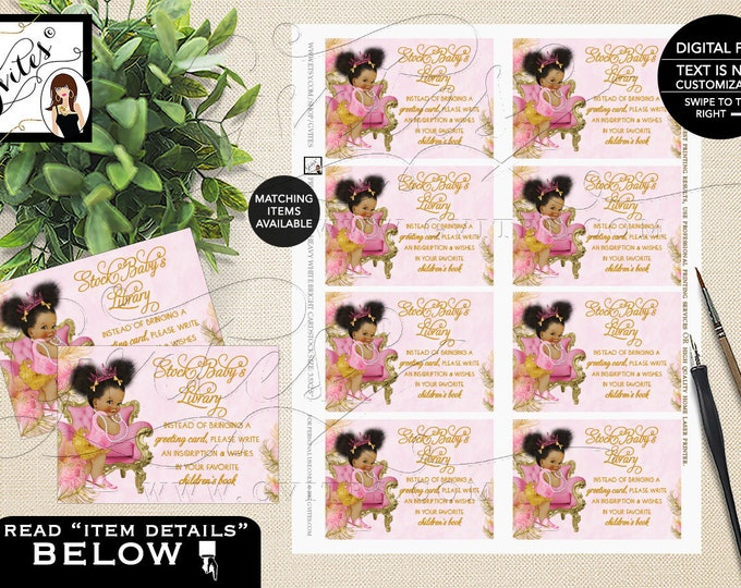 Book For Baby Pink and Gold Baby Shower, Tiaras Diamonds Pearls, African American Princess INSTANT DOWNLOAD {Pink/Gold Feathers}