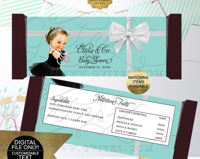 """Baby and Co Candy Bar Wrappers BABY SHOWER Decor, Favors, Gifts, Audrey Hepburn, Blue White, Digital File. 2 Per/Sheet 5.25 x 5.75"""""""