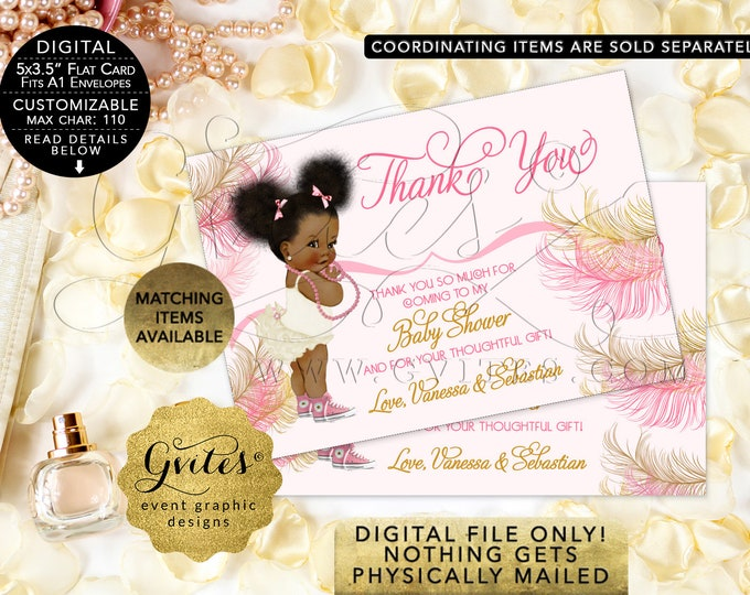 Thank You Cards Personalized African American baby shower pink pearl ivory Afro Puffs | {Design: RAPCE-103} By Gvites