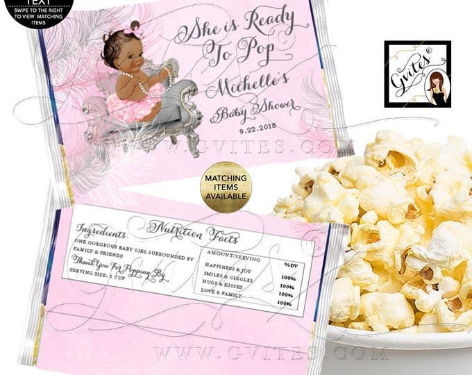 Baby Shower Popcorn Wrappers, She is Ready to Pop, Printable Party Favors Decorations, Pink Silver Digital, DIY. Gvites 6.63x9.86""
