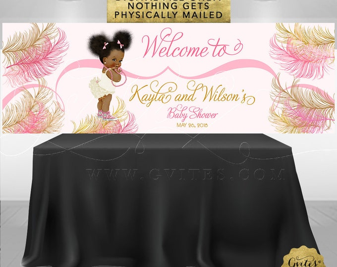 Pink and Gold Banner Baby Shower Printable Signs, African American Baby Girl Vintage, Ribbons Bows Diamonds Pearls.