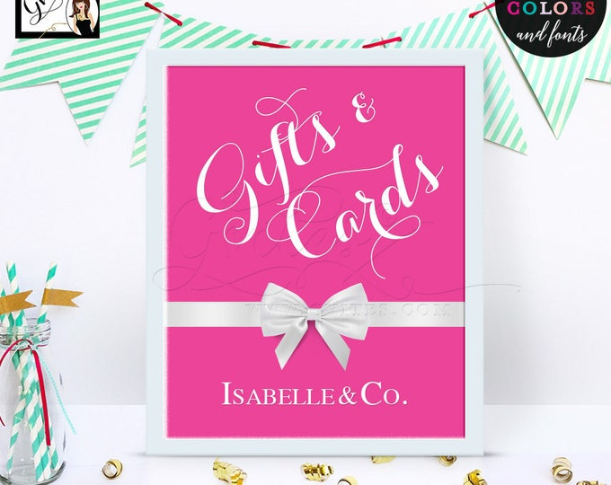 Gifts & Cards Breakfast at sweet 16 table signs, thank you darling decorations, birthday, bridal shower, 8x10 Digital File Only!