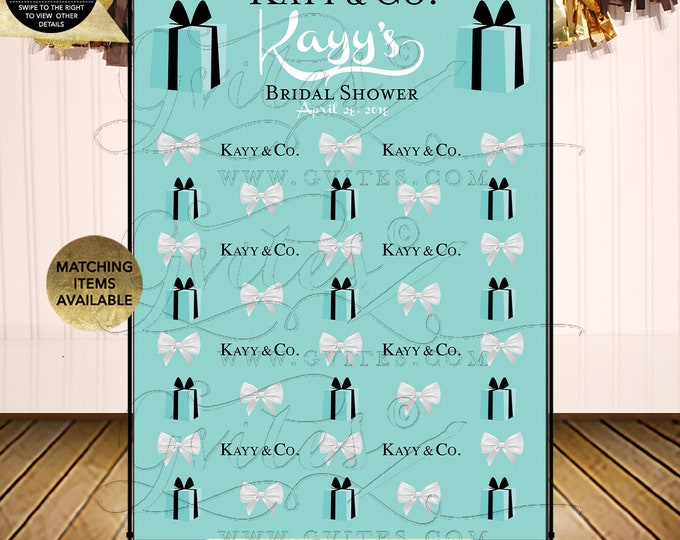 Step and repeat banner backdrops, breakfast at bridal shower, blue photo back drops, wall 5 feet x 7 feet. PRINTABLE