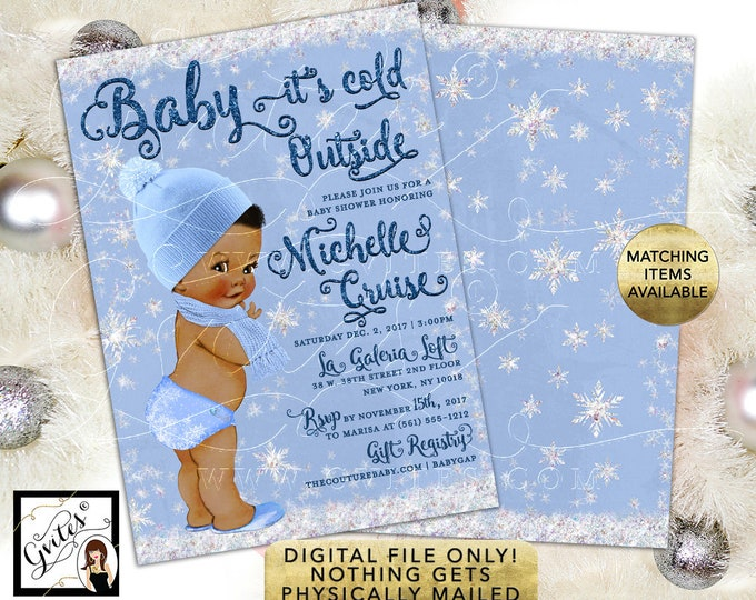 African American Boy Blue White Silver Baby it's Cold outside Baby Shower Invitation, Winter Wonderland, 5x7 double sided. Gvites