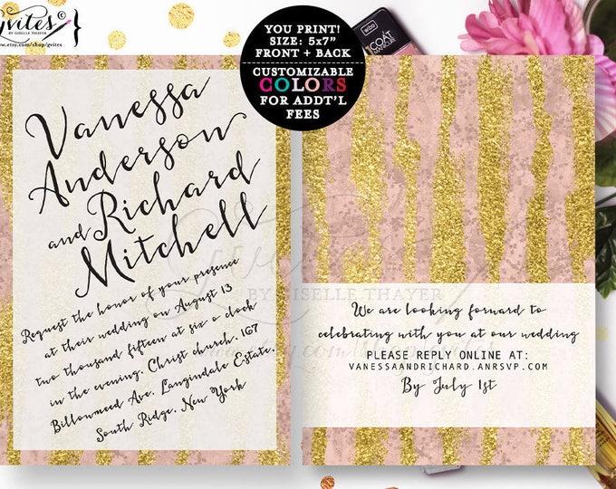 Rose gold wedding invitation, modern wedding invites, gold glitter invitations, designer fashion, glitz and glam, bling, bridal invites, 5x7