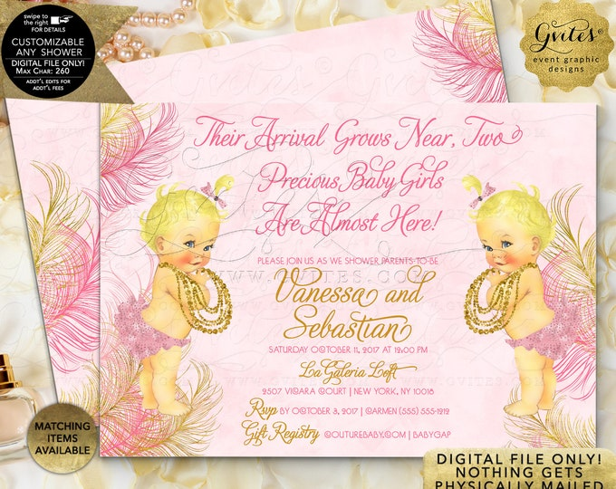 Twin Baby Shower Invitation Pink & Gold Princess Girl | JPG + PDF {Design: TWACE-105} By Gvites