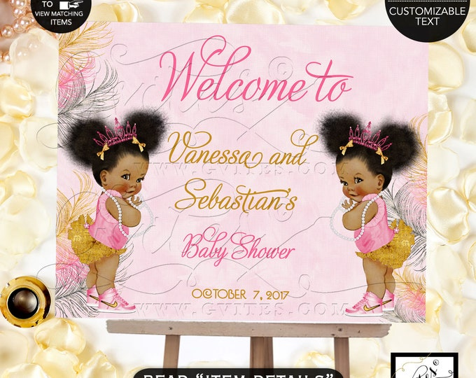 Pink Gold and Silver TWINS Baby Shower Welcome Sign, Princess Decor, Vintage Girl African American Afro Puffs {Pink/Silver/Gold Feathers}