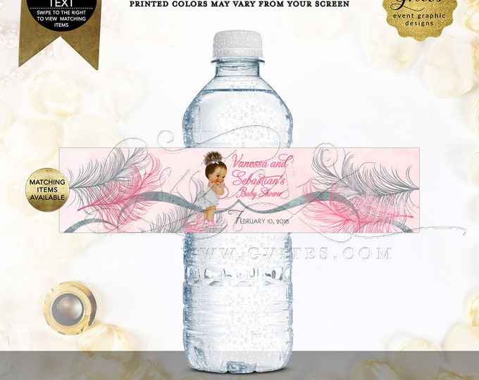 Water Bottle Labels Pink Silver Baby Shower Party Favors, Vintage Baby Girl Ethnic Afro Bun Curly Hair. Digital File | Design: TIACE-105