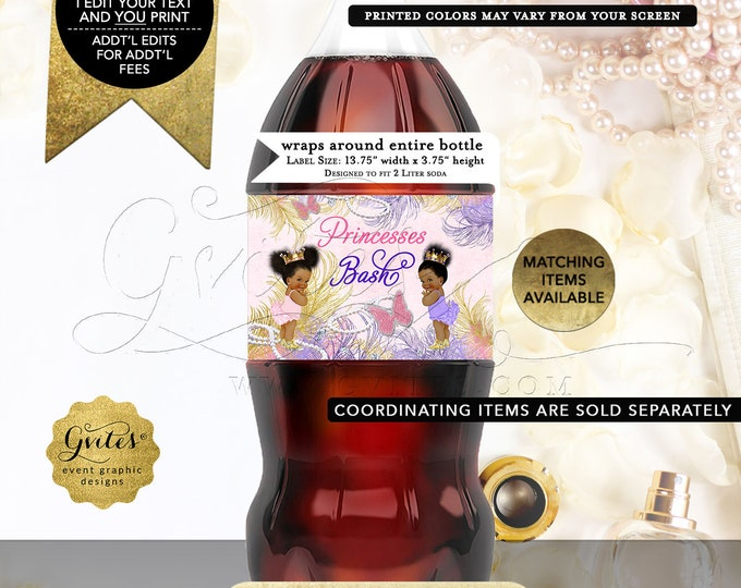 Twins Birthday Party Decorations, Princess Soda Labels, Custom Pink Gold Lavender. Digital File! JPG + PDF,  13.75x 3.75/2 Per Sheet.