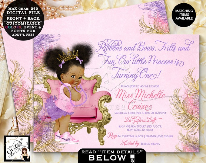 """Gold and Pink, Purple Invitations, First Birthday outfit girl, Baby African American, Very Cute, 1st bday banner, birth shirt, 7x5"""" Gvites"""