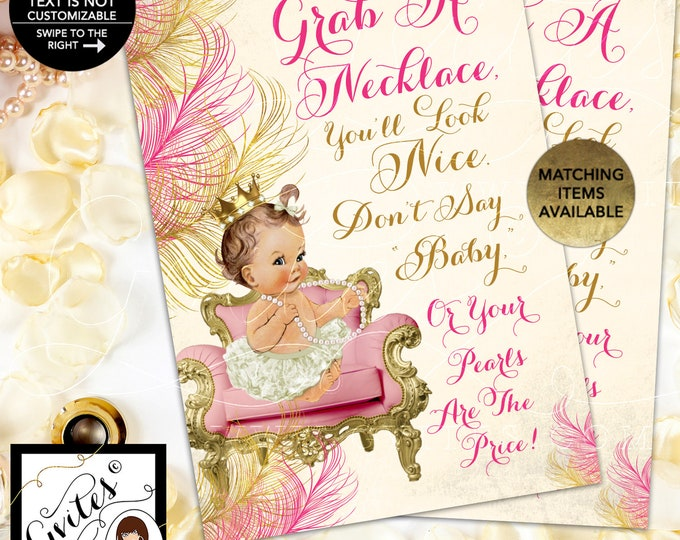 """Pink & Gold Baby Shower Games, Don't Say Baby, Pearl Necklace 5x7"""" {INSTANT DOWNLOAD/Baby: Light/Brunette}"""