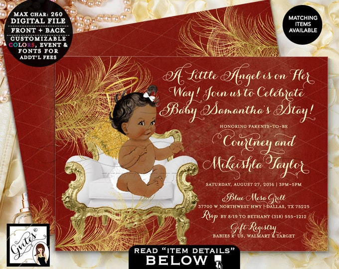 "Christmas Baby Shower Invitation Red and Gold Angel Printable Invitations, Girl Ribbons Gold Wings Invites African American, 7x5"" Gvites"