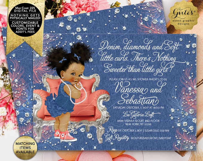 """Denim and Diamonds Soft Little Curls Coral Blue, Baby Shower Invitation, Afro Puffs Curly Vintage African American Girl. 7x5"""" Double Sided"""