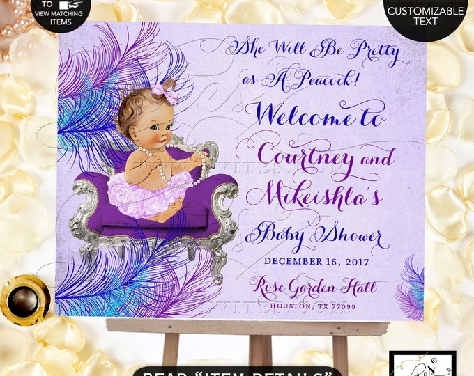 Baby Shower Welcome Sign, Lavender Blue and Purple, Ribbons, Pretty as Peacock, Pearls Vintage Baby Girl Printable Party Signs, Decor, DIY