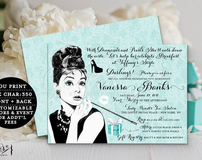 Audrey Hepburn shower invitations, Bridal Shower, diamonds pearls, customizable, little blue box, double sided, 7x5