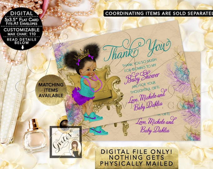 Thank You Baby Shower Cards Teal Purple and Gold, Afro Puffs Princess Gold Tiara, Peacock Beige, Printable. Digital File Only!