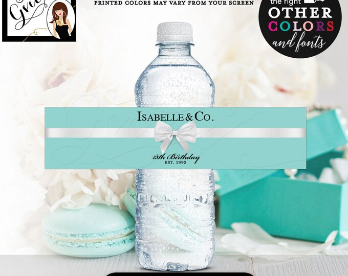 "25th Birthday Water Bottle Labels, Isabelle & Co Stickers breakfast at blue {REALISTIC SATIN RIBBON} 8x2""/5 Per Sheet Digital File Only!"