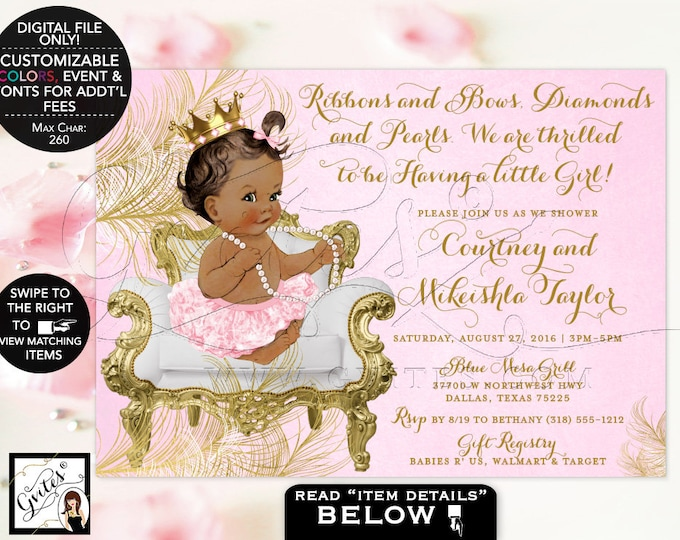 """African American princess baby shower, Pink and Gold Baby shower invitation girl tutu invite Digital File 7x5"""" Gvites {White/Gold Feathers}"""
