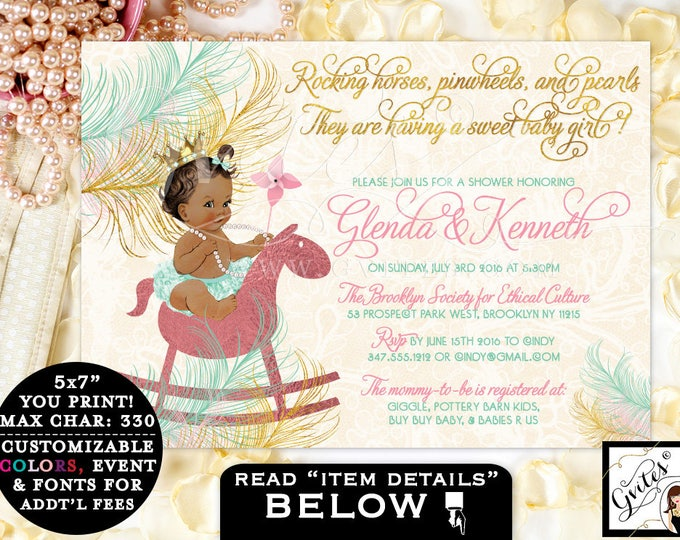 """Mint Green and Gold Baby Shower Printable Invitation, 7x5"""""""