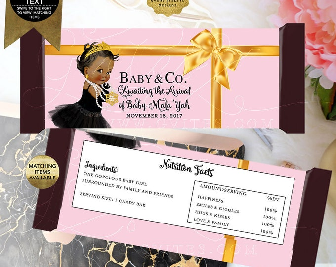 Pink and Gold Baby and Co Candy Bar Wrappers, Shower Party Decorations, Favors Gifts, Labels, Decor, Breakfast at, Digital. {Light Pink}