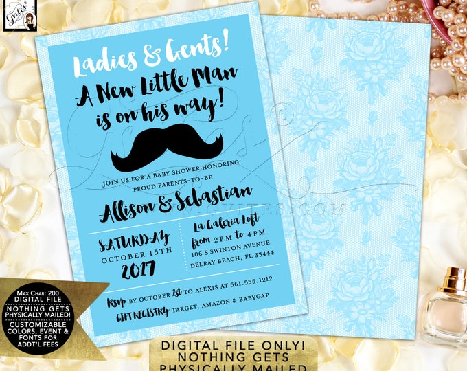 "Little Man Birthday Invitation Baby Blue Printable Invitation, Mustache French Lace. 5x7"" Digital File Only!"