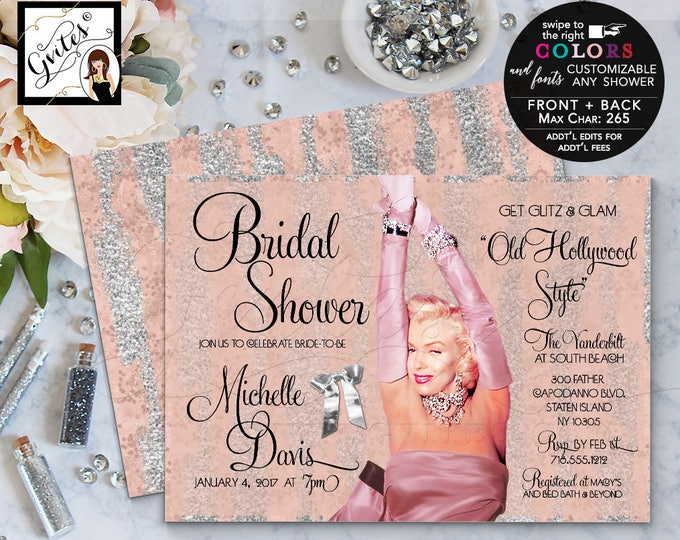 Marilyn Monroe Styled Rose gold invitations, bridal shower gold and silver, glitz and glam, pink silver, pink gold, digital printable.