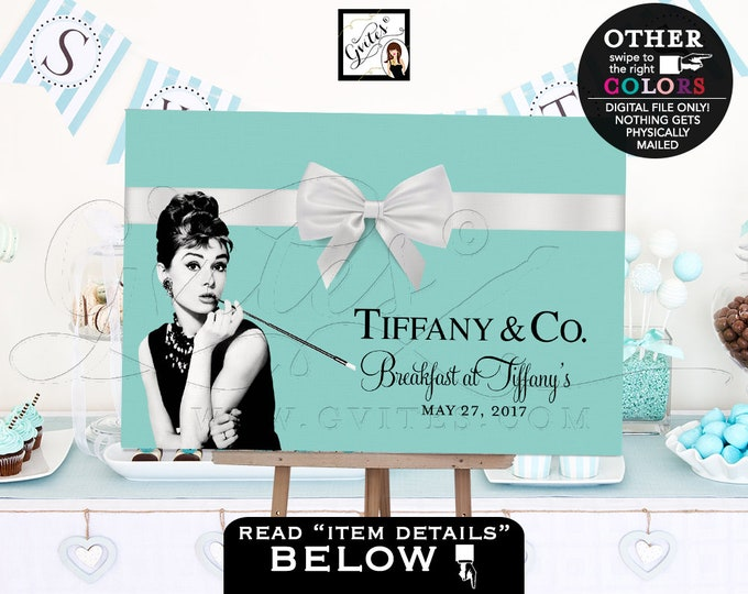 Breakfast at party table backdrops, Dessert cake centerpiece Audrey Hepburn banner signs, bridal shower, Customizable Any Event. PRINTABLE