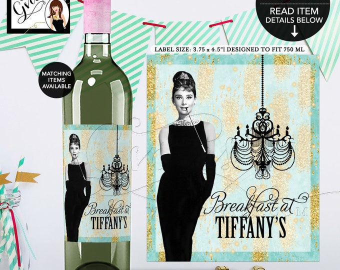 """Wine Labels Audrey Hepburn Turquoise blue gold, Breakfast at and co themed party supplies. {3.75x4.5""""/4 Per Sheet}"""