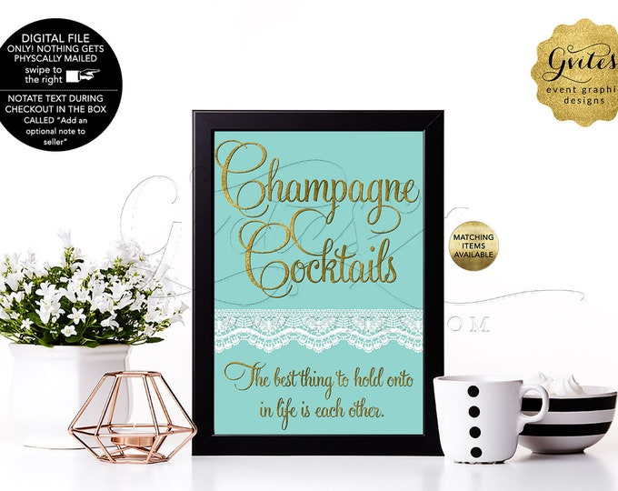 Champagne Cocktails Birthday or Bridal Table Signs With Personalized Audrey Hepburn Quote. Breakfast blue themed, Digital file. 4x6 or 5x7