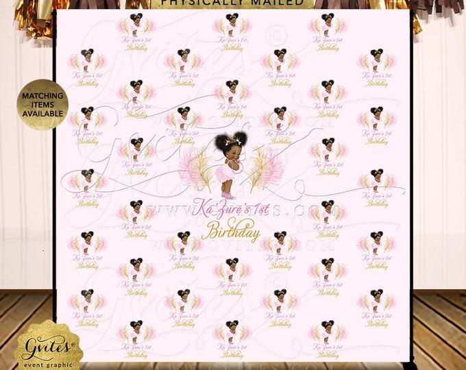 Step Repeat Backdrop Afro Puffs Vintage Rose Pink Gold Princess Baby Shower | Printable Digital JPG + PDF | By Gvites | Design: TIACE-116