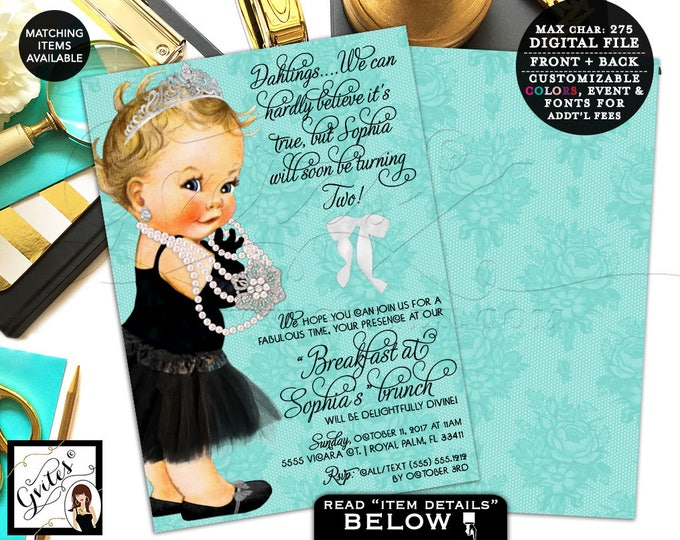 Baby and Co Baby Invitation, 2nd birthday, first invites breakfast at, pearls princess lace white bow, double sided, 7x5. Gvites